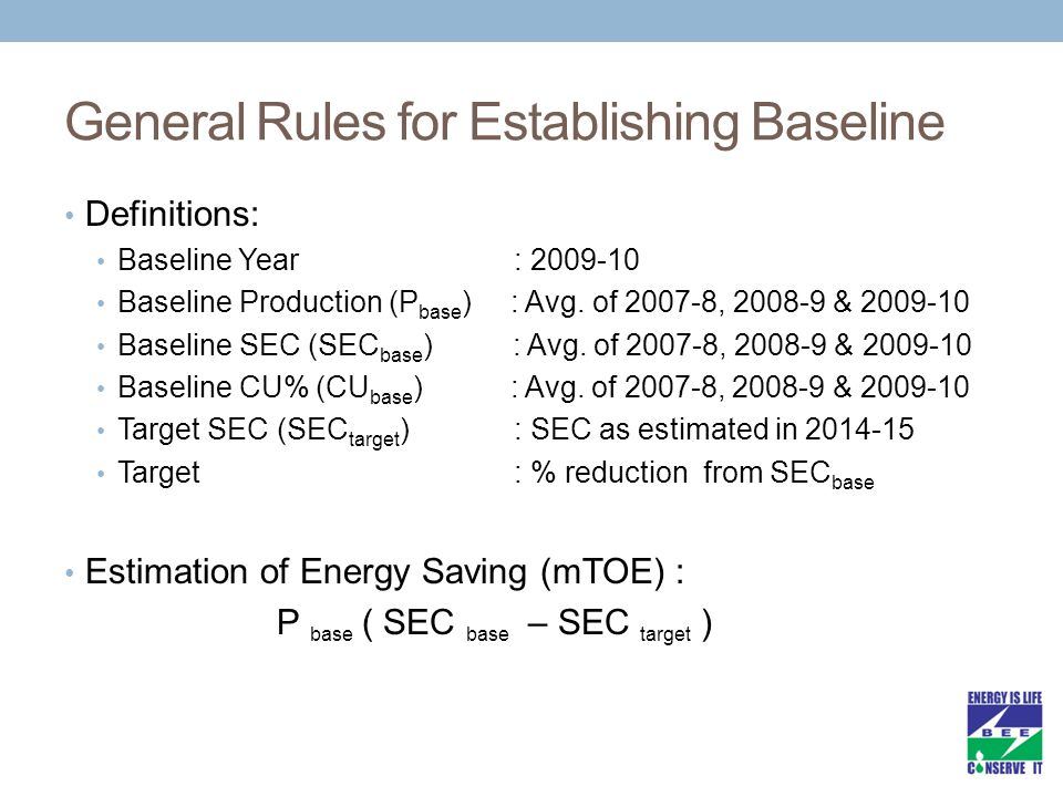 General Rules for Establishing Baseline Definitions: Baseline Year : 2009-10 Baseline Production (P base ) : Avg. of 2007-8, 2008-9 & 2009-10 Baseline