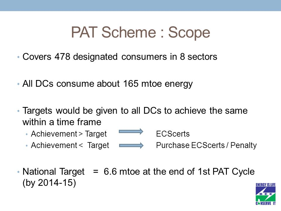 PAT Scheme : Scope Covers 478 designated consumers in 8 sectors All DCs consume about 165 mtoe energy Targets would be given to all DCs to achieve the