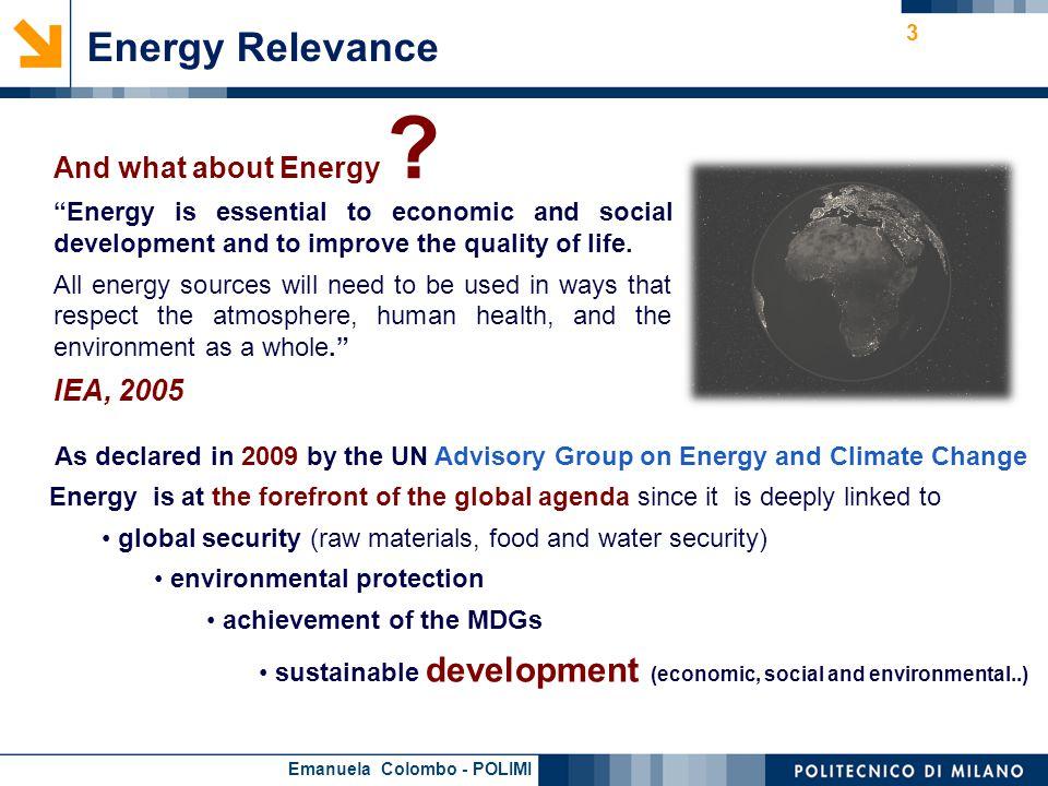 Emanuela Colombo - POLIMI Quantitative interdependency between Energy & Development Total Primary Energy Supply (toe per capita) Vs.
