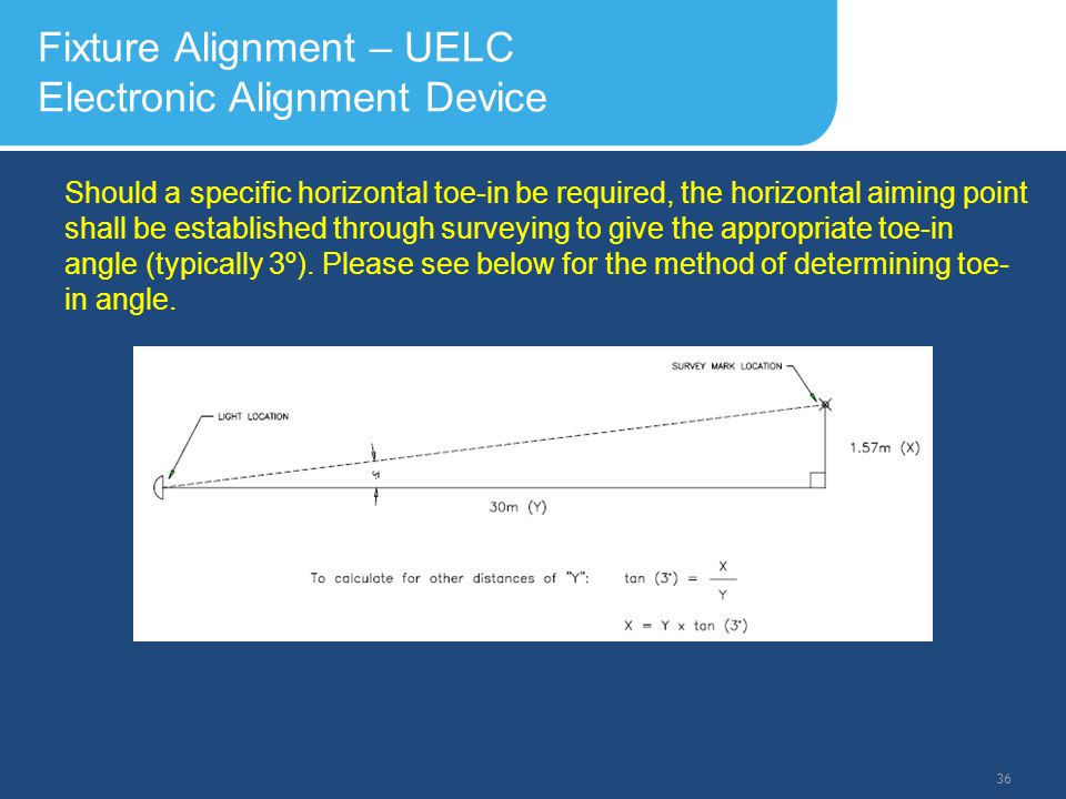 Slide Header 1 Presentation Title TrebuchetBold 20pt 09/29/2012 37 Fixture Alignment – UELC Electronic Alignment Device Vertical Aiming Once the horizontal leveling of the fixture is completed, the vertical aiming angle can now be set.