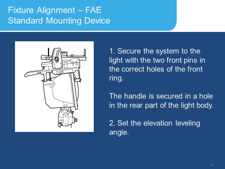 Slide Header 1 Presentation Title TrebuchetBold 20pt 09/29/2012 42 Fixture Alignment – FAE Standard Mounting Device 3.