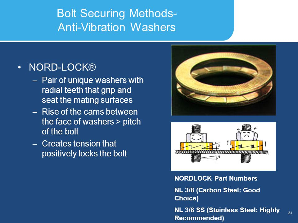 Slide Header 1 Presentation Title TrebuchetBold 20pt 09/29/2012 62 Torque Tools Torque Tool Types –Manual –Automatic (Impact)