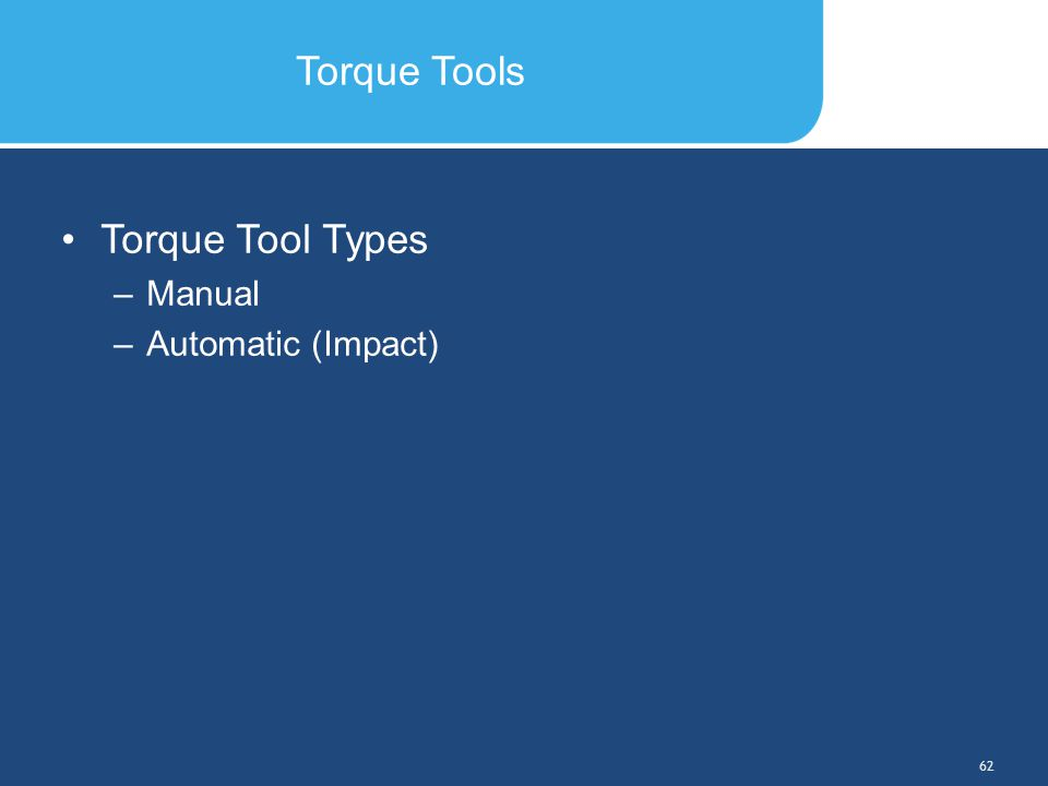 Slide Header 1 Presentation Title TrebuchetBold 20pt 09/29/2012 63 In-pavement Fixture Torquing Torque the bolts across corners in the following sequence: #1 and #4, then #2 and #5, then #3 and #6 Torque the bolts on ADB fixtures to 185  5 inch- pounds (20.902  0.565 Nt-m) Bolt #1 Bolt #6 Bolt #5 Bolt #4 Bolt #3 Bolt #2