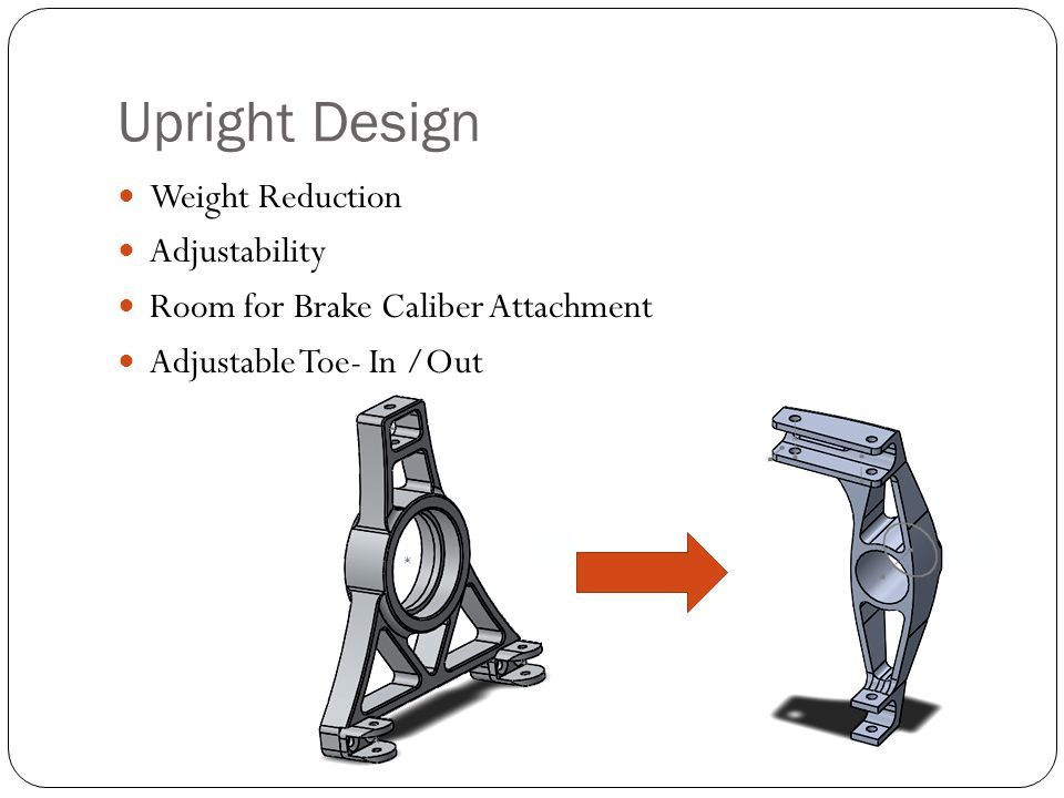 Upright Design Weight Reduction Adjustability Room for Brake Caliber Attachment Adjustable Toe- In /Out