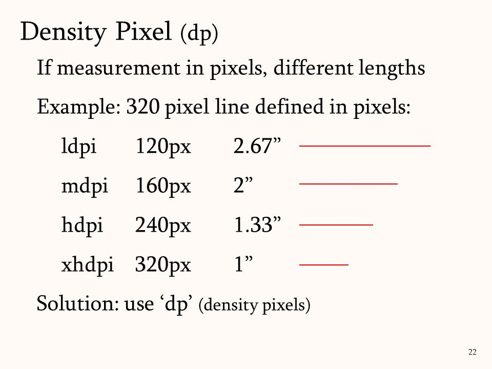 If measurement in pixels, different lengths Example: 320 pixel line defined in pixels: ldpi120px2.67 mdpi160px2 hdpi240px1.33 xhdpi320px1 Solution: use 'dp' (density pixels) 22 Density Pixel (dp)