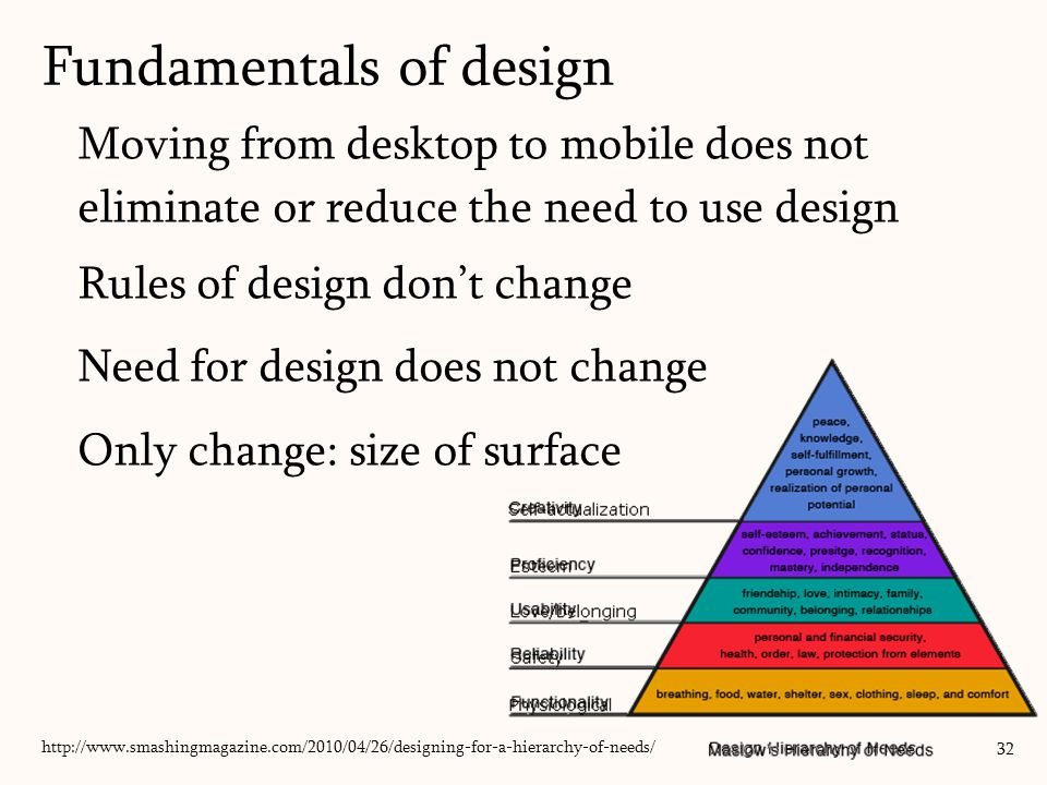 Moving from desktop to mobile does not eliminate or reduce the need to use design Rules of design don't change Need for design does not change Only change: size of surface Fundamentals of design 32 http://www.smashingmagazine.com/2010/04/26/designing-for-a-hierarchy-of-needs/