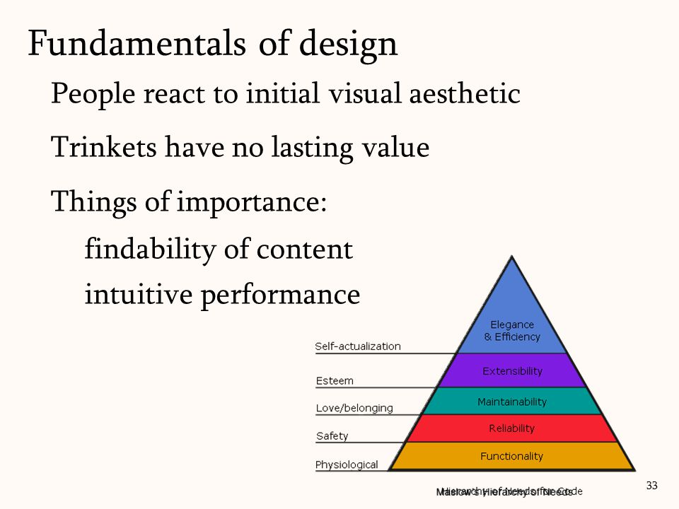 People react to initial visual aesthetic Trinkets have no lasting value Things of importance: findability of content intuitive performance Fundamental