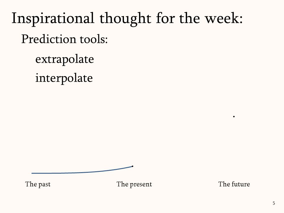 Prediction tools: extrapolate interpolate Inspirational thought for the week: 5 The pastThe presentThe future..