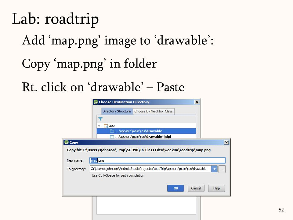 Add 'map.png' image to 'drawable': Copy 'map.png' in folder Rt.
