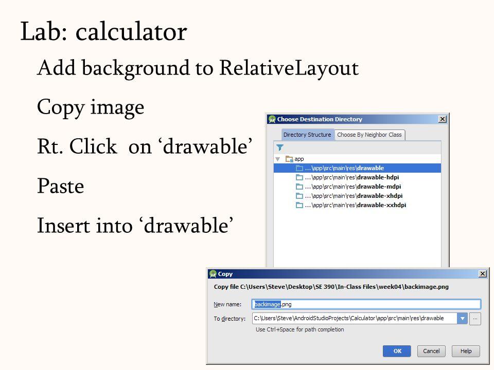Add background to RelativeLayout Copy image Rt.