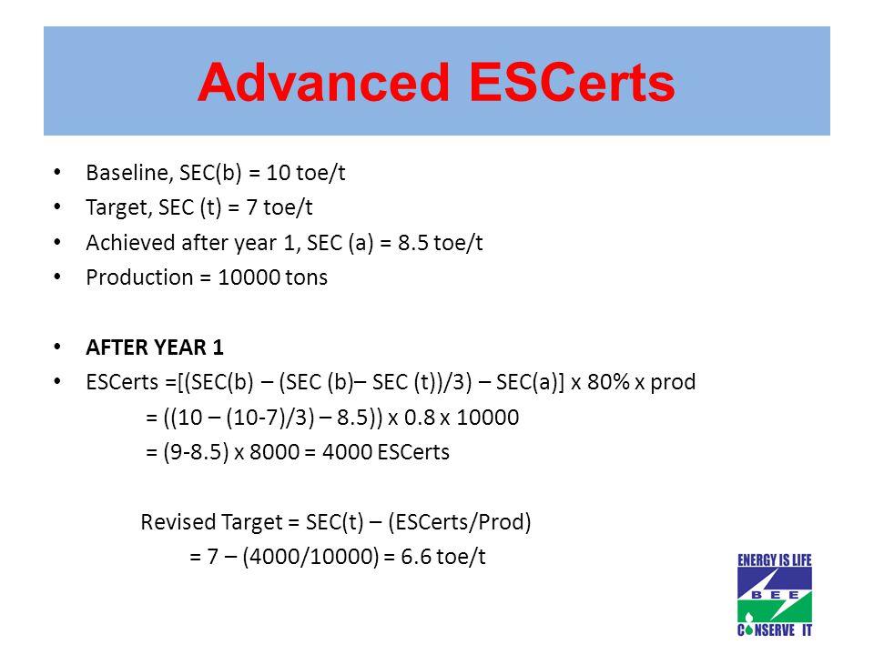 Advanced ESCerts Baseline, SEC(b) = 10 toe/t Target, SEC (t) = 7 toe/t Achieved after year 1, SEC (a) = 8.5 toe/t Production = 10000 tons AFTER YEAR 1 ESCerts =[(SEC(b) – (SEC (b)– SEC (t))/3) – SEC(a)] x 80% x prod = ((10 – (10-7)/3) – 8.5)) x 0.8 x 10000 = (9-8.5) x 8000 = 4000 ESCerts Revised Target = SEC(t) – (ESCerts/Prod) = 7 – (4000/10000) = 6.6 toe/t