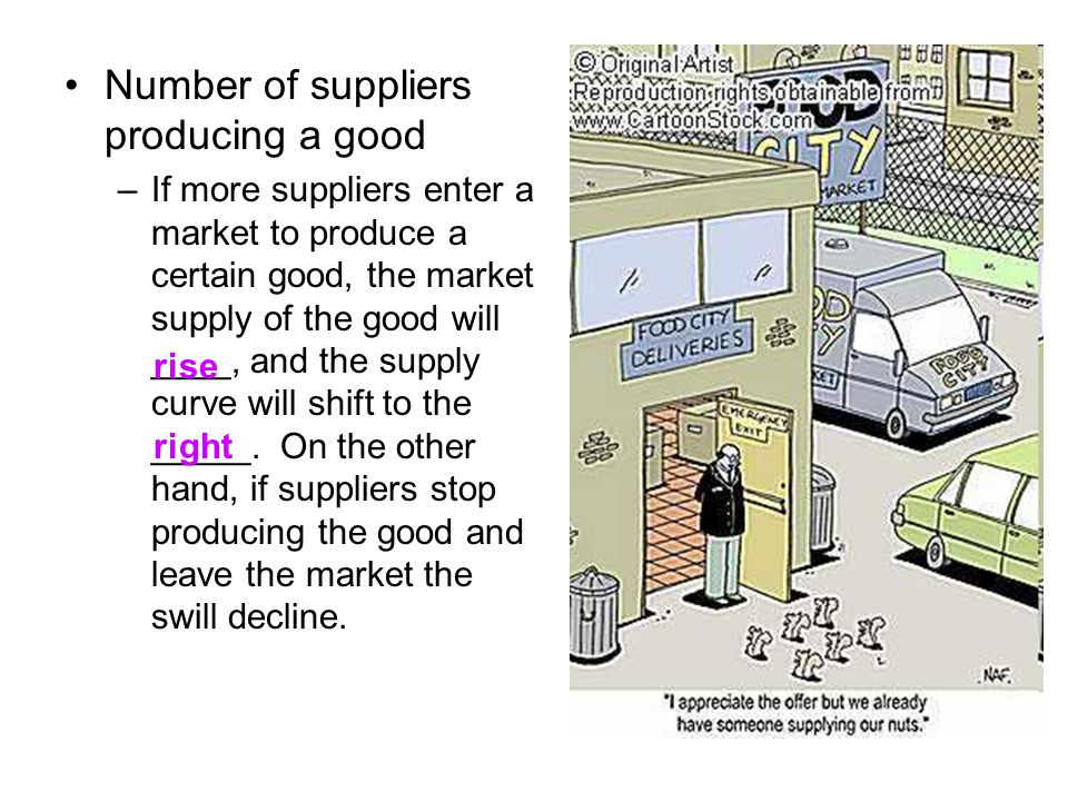 Number of suppliers producing a good –If more suppliers enter a market to produce a certain good, the market supply of the good will ____, and the supply curve will shift to the _____.