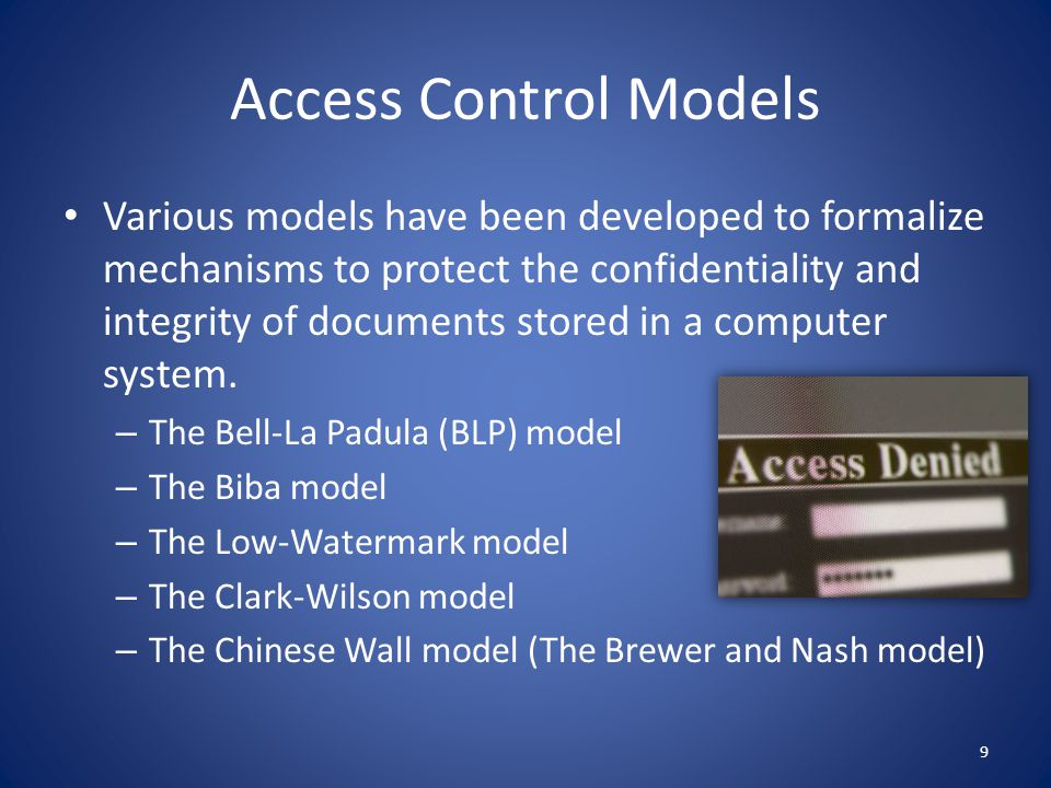 The Bell-La Padula Model The Bell-La Padula (BLP) model is a classic mandatory access-control model for protecting confidentiality.
