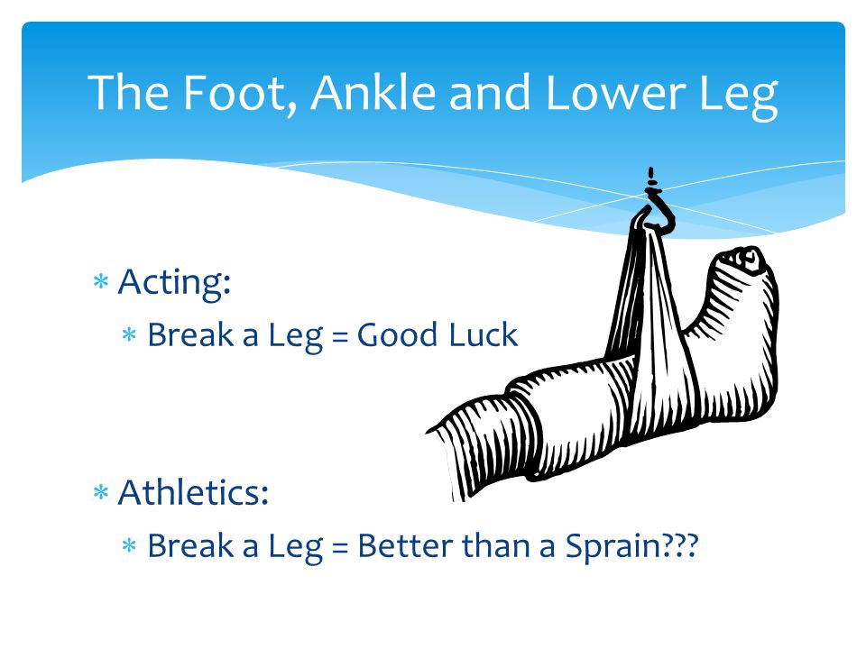  Acting:  Break a Leg = Good Luck  Athletics:  Break a Leg = Better than a Sprain .