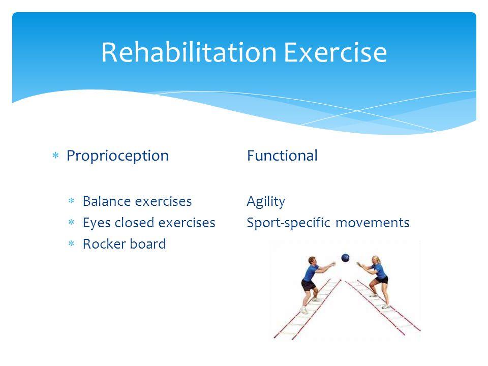  ProprioceptionFunctional  Balance exercisesAgility  Eyes closed exercisesSport-specific movements  Rocker board Rehabilitation Exercise