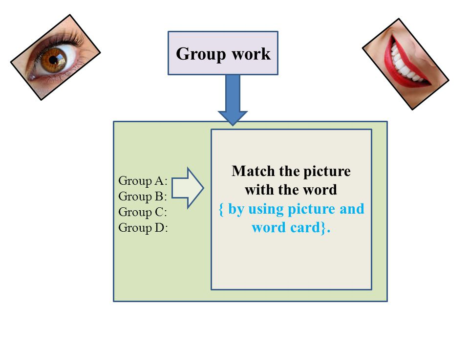 Group work Group A: Group B: Group C: Group D: Match the picture with the word { by using picture and word card}.
