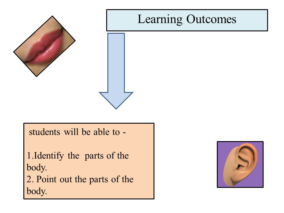 students will be able to - 1.Identify the parts of the body.