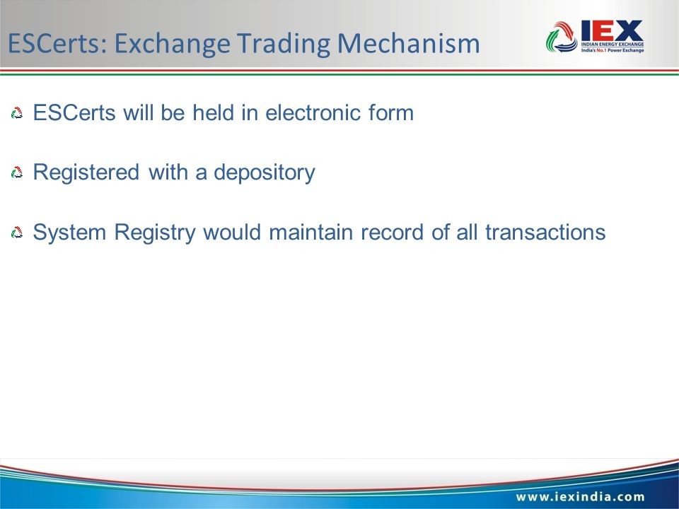 www.iexindia.com ESCerts: Exchange Trading Mechanism ESCertswill be held in electronic form Registeredwith a depository SystemRegistry would maintain record of all transactions