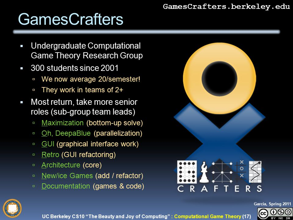 UC Berkeley CS10 The Beauty and Joy of Computing : Computational Game Theory (17) Garcia, Spring 2011 GamesCraftersGamesCrafters.berkeley.edu  Undergraduate Computational Game Theory Research Group  300 students since 2001  We now average 20/semester.