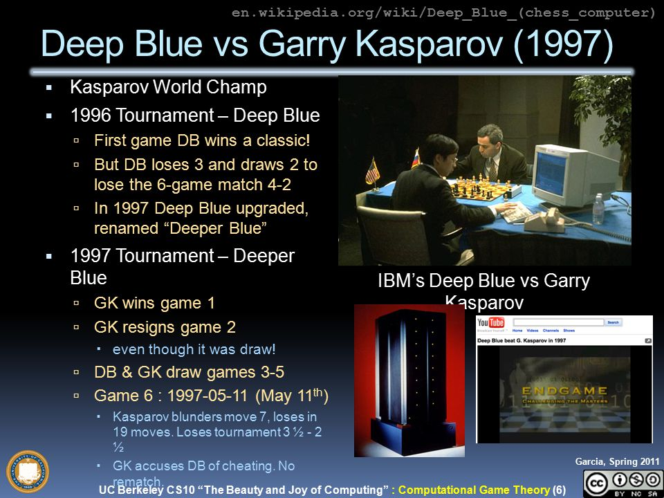 UC Berkeley CS10 The Beauty and Joy of Computing : Computational Game Theory (6) Garcia, Spring 2011  Kasparov World Champ  1996 Tournament – Deep Blue  First game DB wins a classic.