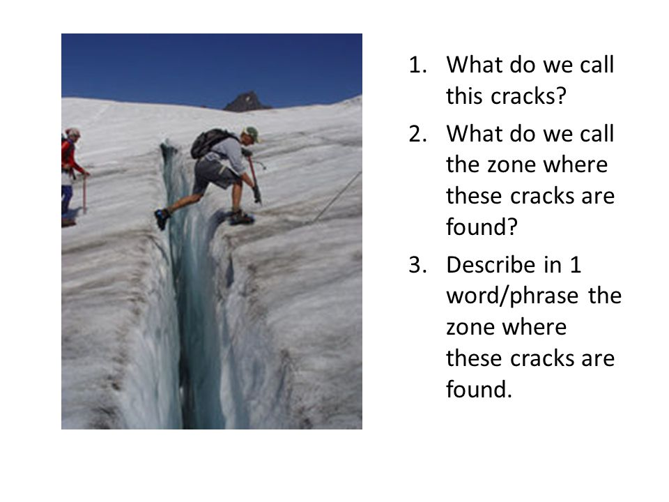 1.What do we call this cracks? 2.What do we call the zone where these cracks are found? 3.Describe in 1 word/phrase the zone where these cracks are fo