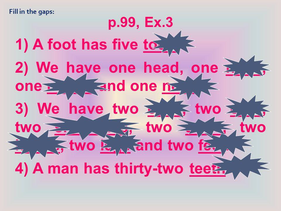 hair headbody nose finger leg toe ear shoulder neck face teeth foot mouth arm eye hand knee Match the words: