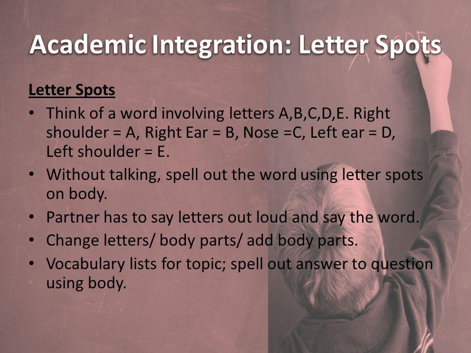 Academic Integration: Letter Spots Letter Spots Think of a word involving letters A,B,C,D,E.