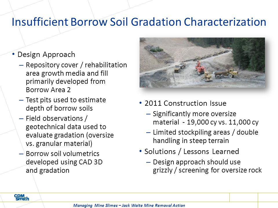 Insufficient Borrow Soil Gradation Characterization Design Approach – Repository cover / rehabilitation area growth media and fill primarily developed from Borrow Area 2 – Test pits used to estimate depth of borrow soils – Field observations / geotechnical data used to evaluate gradation (oversize vs.