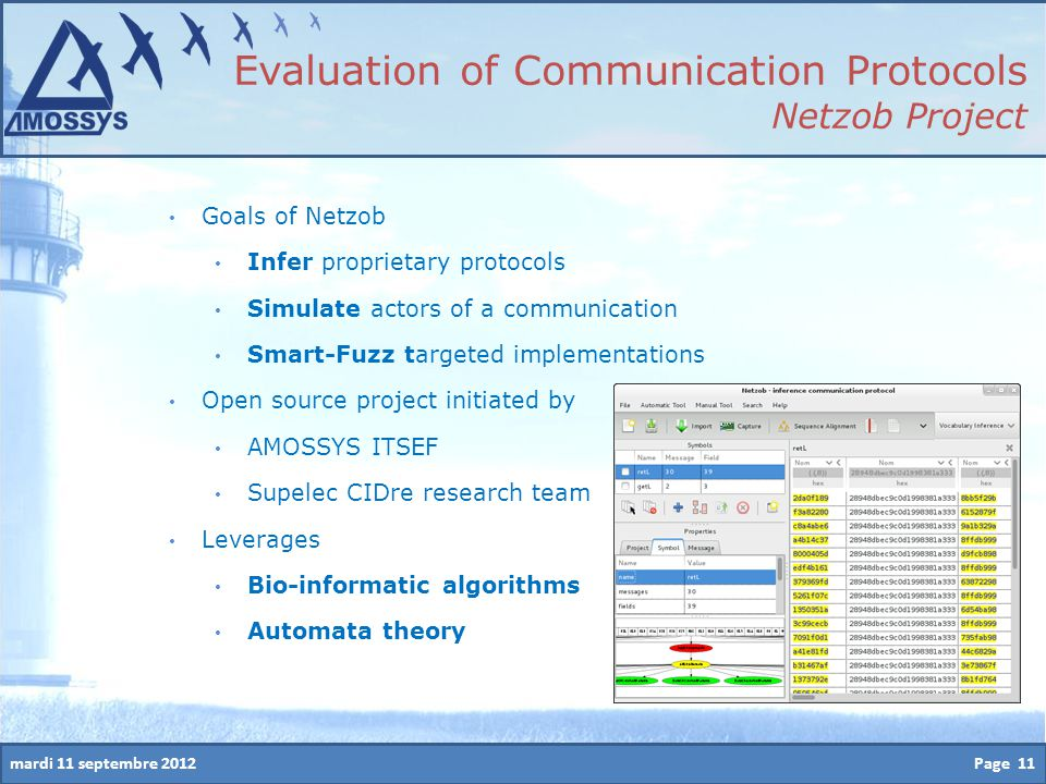 mardi 11 septembre 2012Page 11 Evaluation of Communication Protocols Netzob Project Goals of Netzob Infer proprietary protocols Simulate actors of a c