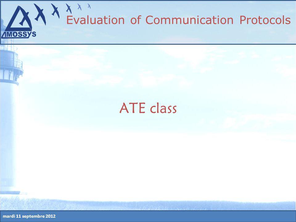 mardi 11 septembre 2012 ATE class Evaluation of Communication Protocols
