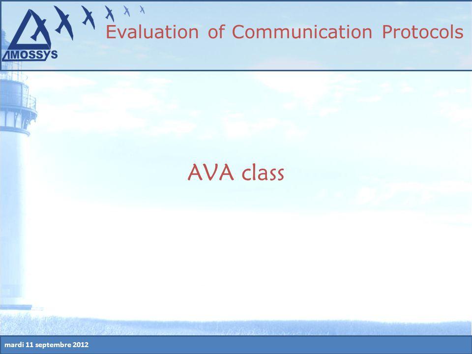 mardi 11 septembre 2012 AVA class Evaluation of Communication Protocols