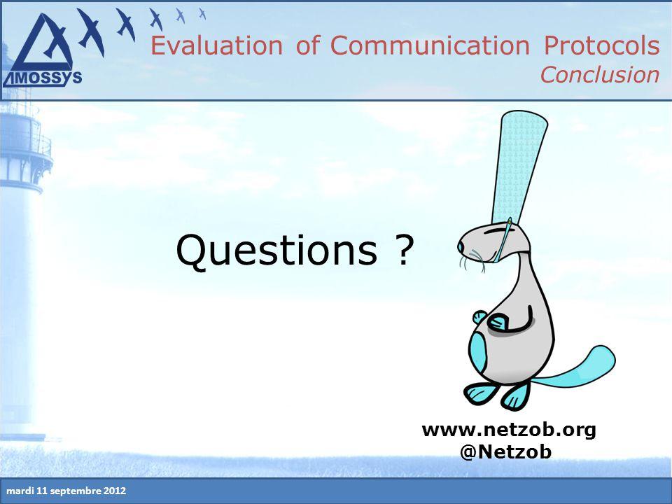 mardi 11 septembre 2012 Evaluation of Communication Protocols Conclusion www.netzob.org @Netzob Questions