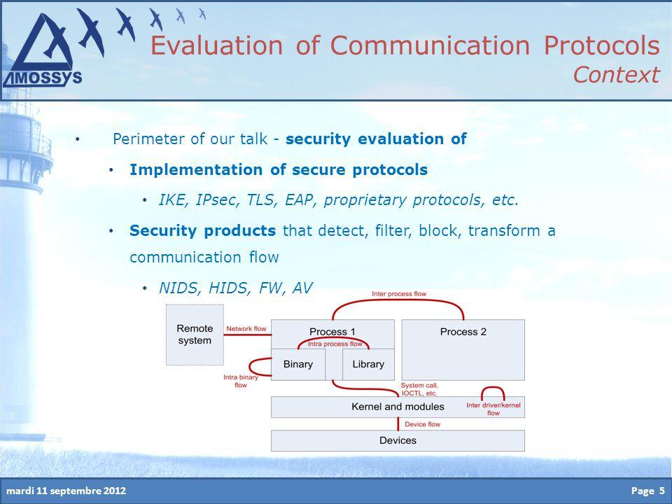 mardi 11 septembre 2012 Perimeter of our talk - security evaluation of Implementation of secure protocols IKE, IPsec, TLS, EAP, proprietary protocols, etc.