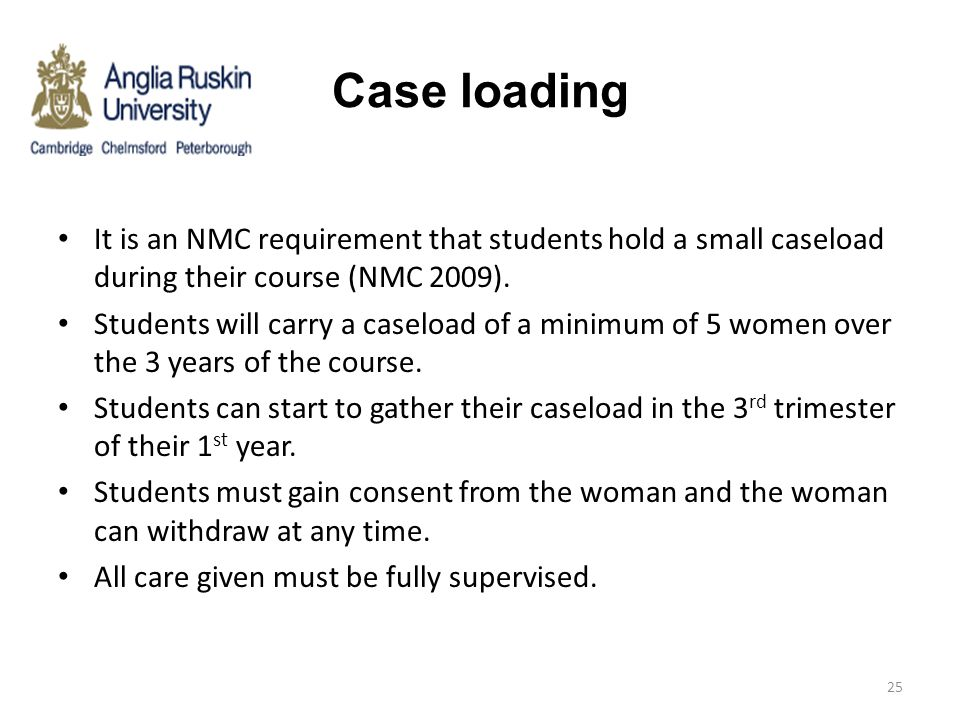 Case loading It is an NMC requirement that students hold a small caseload during their course (NMC 2009). Students will carry a caseload of a minimum