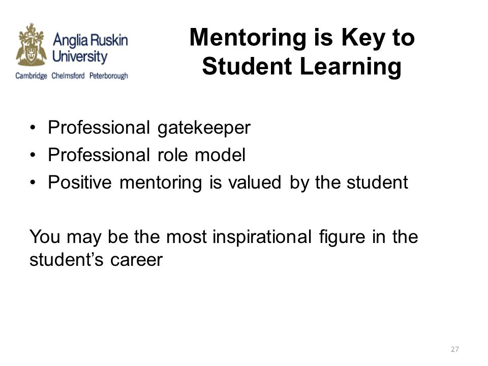 Mentoring is Key to Student Learning Professional gatekeeper Professional role model Positive mentoring is valued by the student You may be the most i