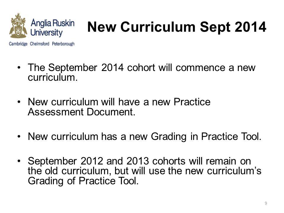 New Curriculum Sept 2014 The September 2014 cohort will commence a new curriculum. New curriculum will have a new Practice Assessment Document. New cu