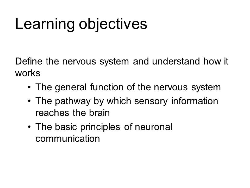 Learning objectives Define the nervous system and understand how it works The general function of the nervous system The pathway by which sensory info
