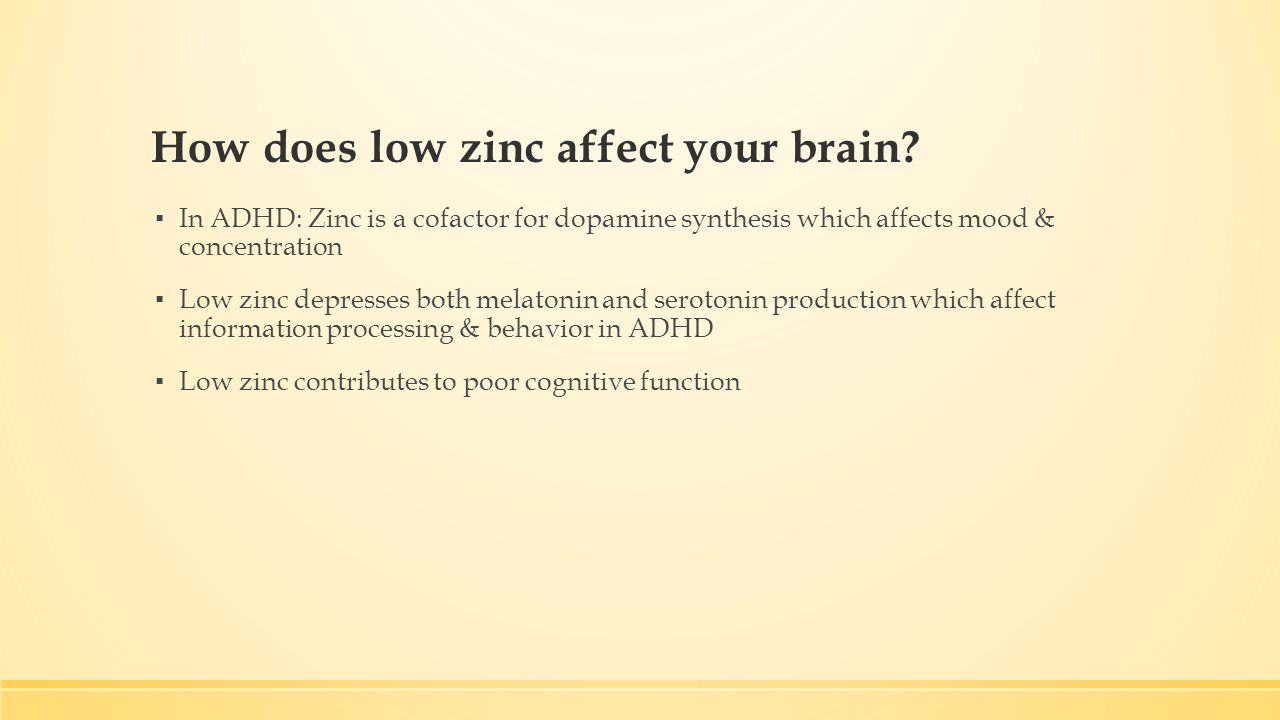 How does low zinc affect your brain.