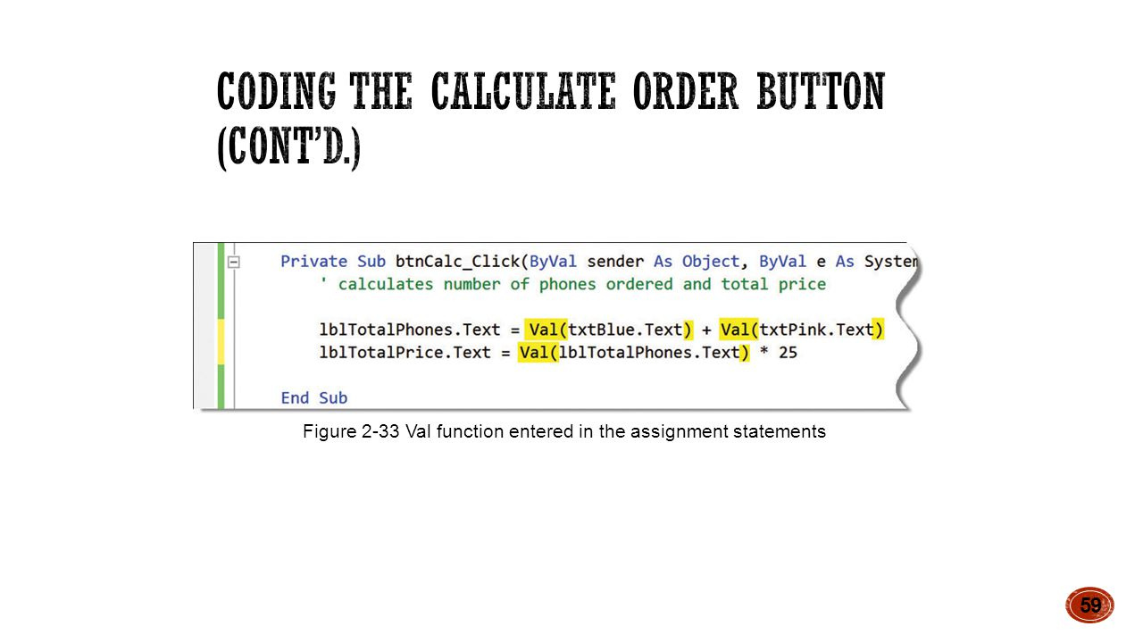 59 Figure 2-33 Val function entered in the assignment statements