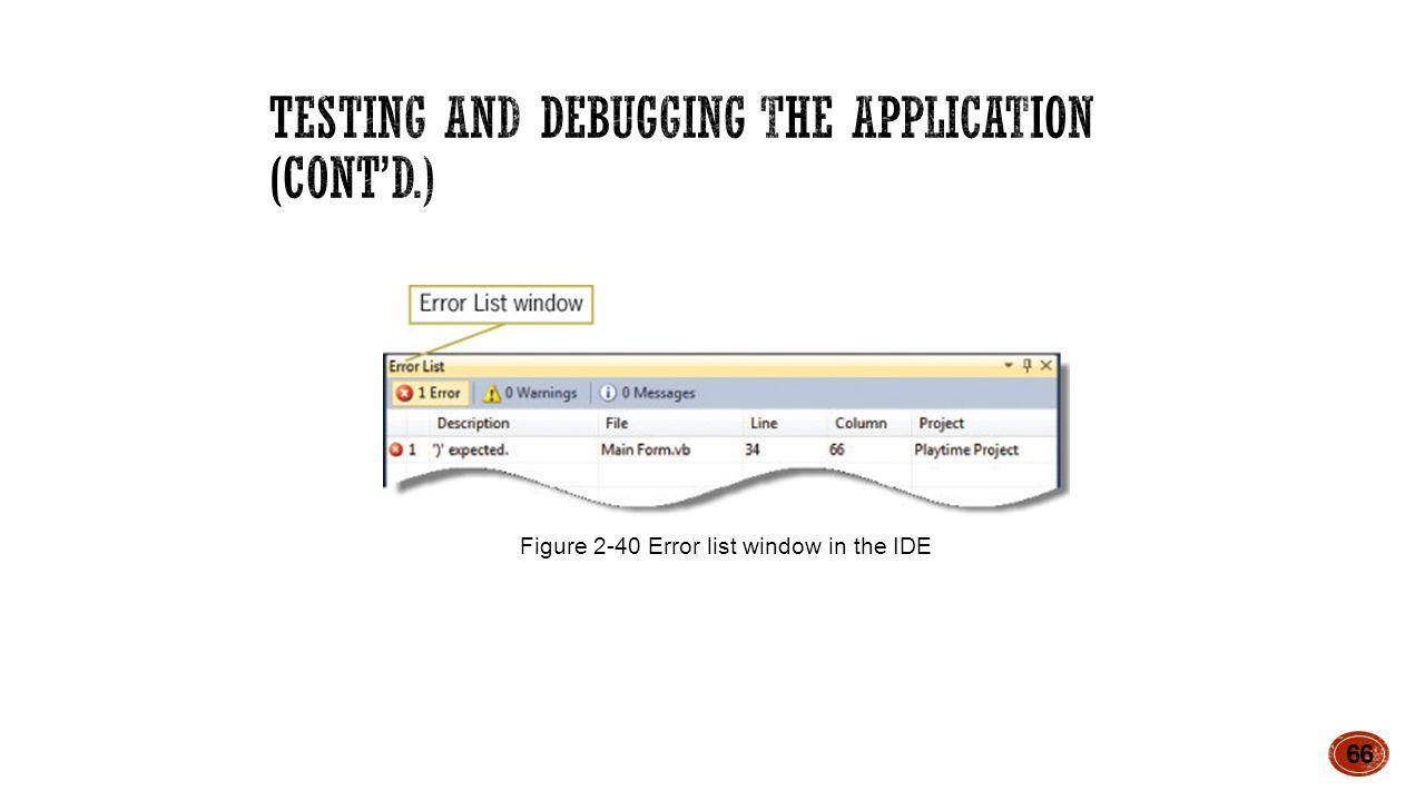 66 Figure 2-40 Error list window in the IDE
