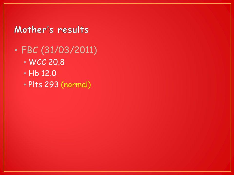 FBC (31/03/2011) WCC 20.8 Hb 12.0 Plts 293 (normal)