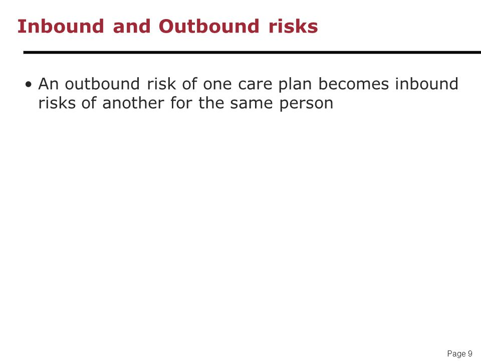 Page 9 Inbound and Outbound risks An outbound risk of one care plan becomes inbound risks of another for the same person