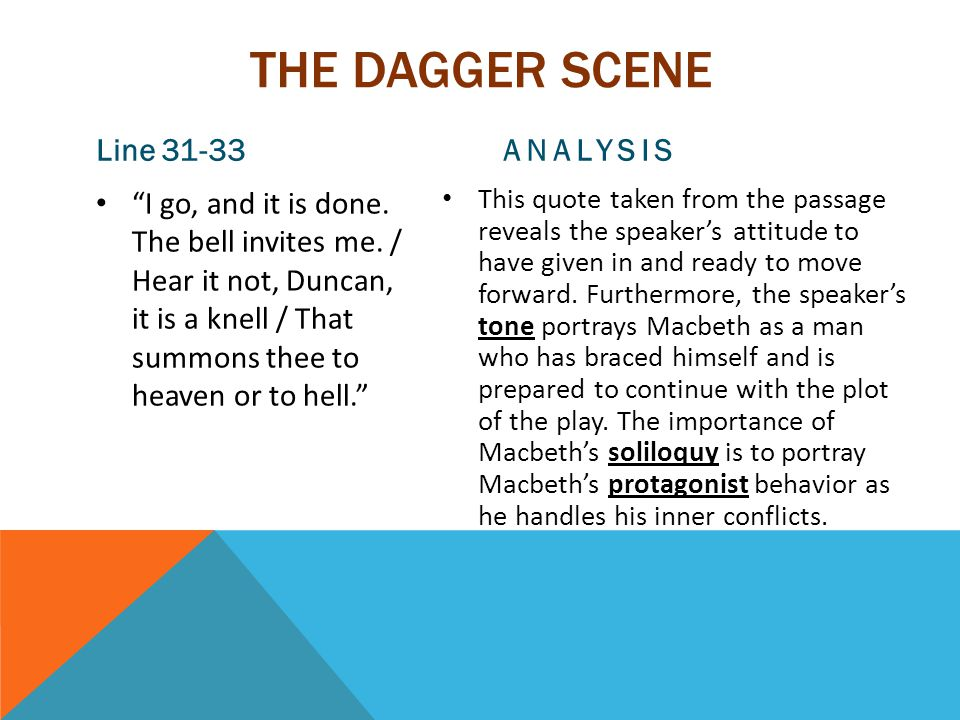 THE DAGGER SCENE Line 31-33 I go, and it is done.