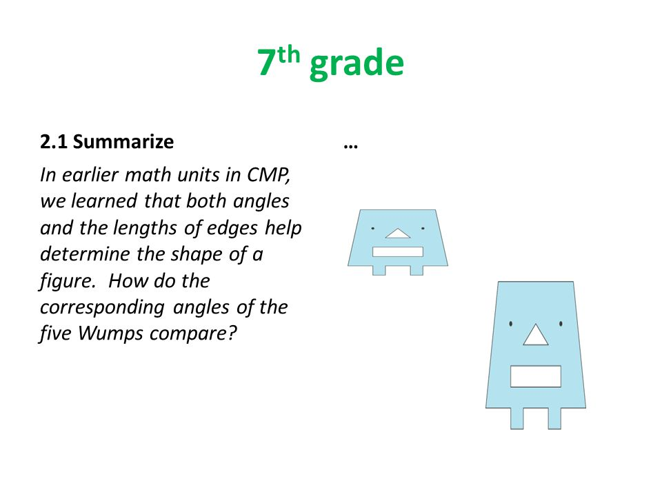 7 th grade 2.1 Summarize In earlier math units in CMP, we learned that both angles and the lengths of edges help determine the shape of a figure.