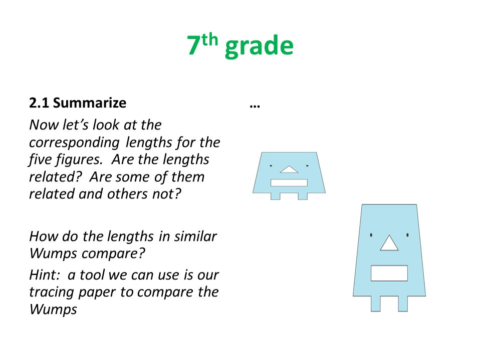 7 th grade 2.1 Summarize Now let's look at the corresponding lengths for the five figures.