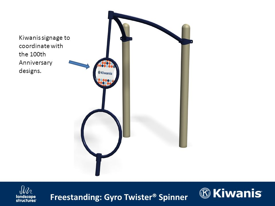 Freestanding: Gyro Twister® Spinner Kiwanis signage to coordinate with the 100th Anniversary designs.