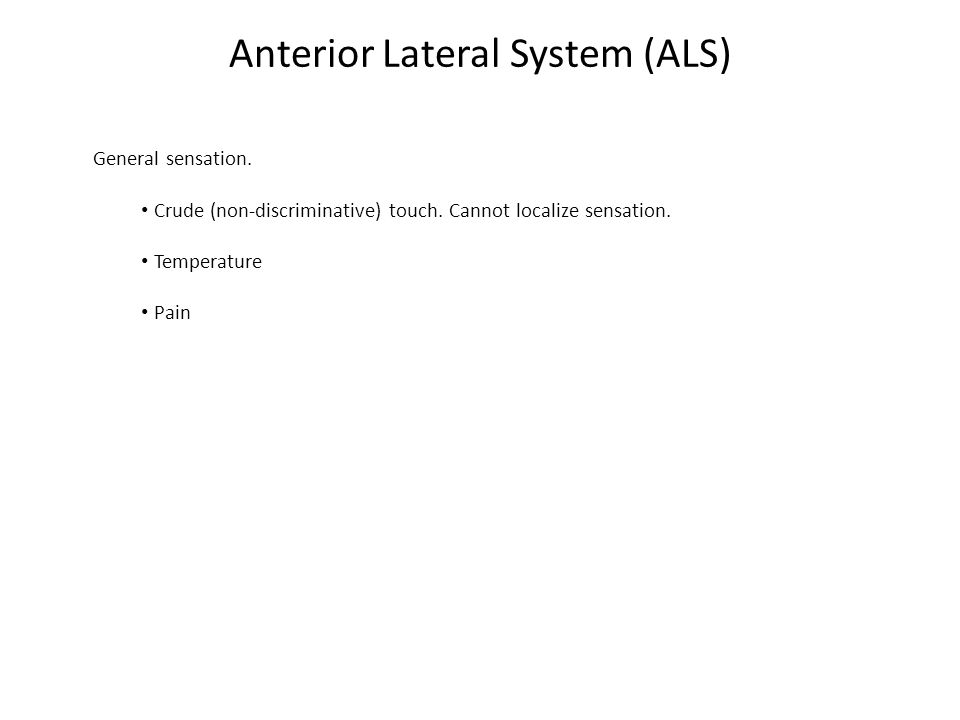 Anterior Lateral System (ALS) General sensation. Crude (non-discriminative) touch.