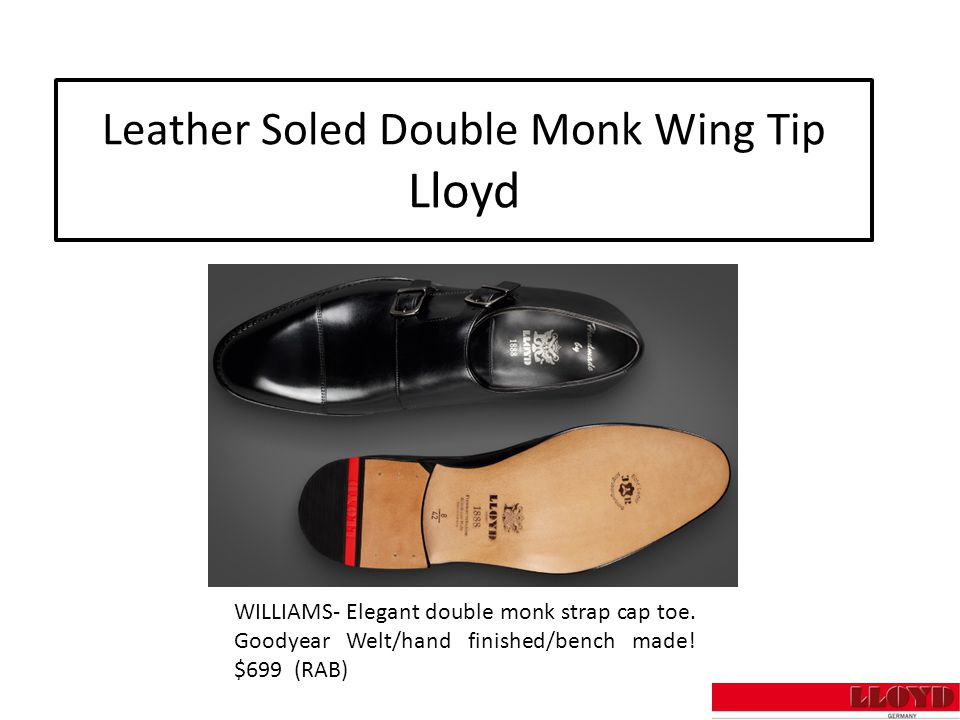 Leather Soled Double Monk Wing Tip Lloyd WILLIAMS- Elegant double monk strap cap toe.