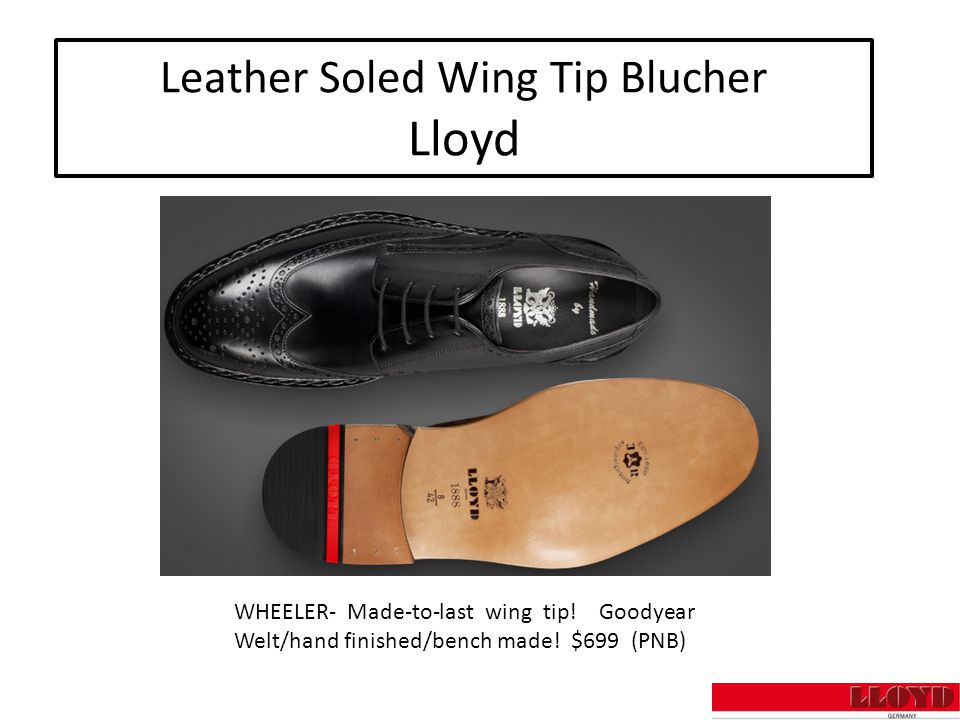 Leather Soled Wing Tip Blucher Lloyd WHEELER- Made-to-last wing tip.