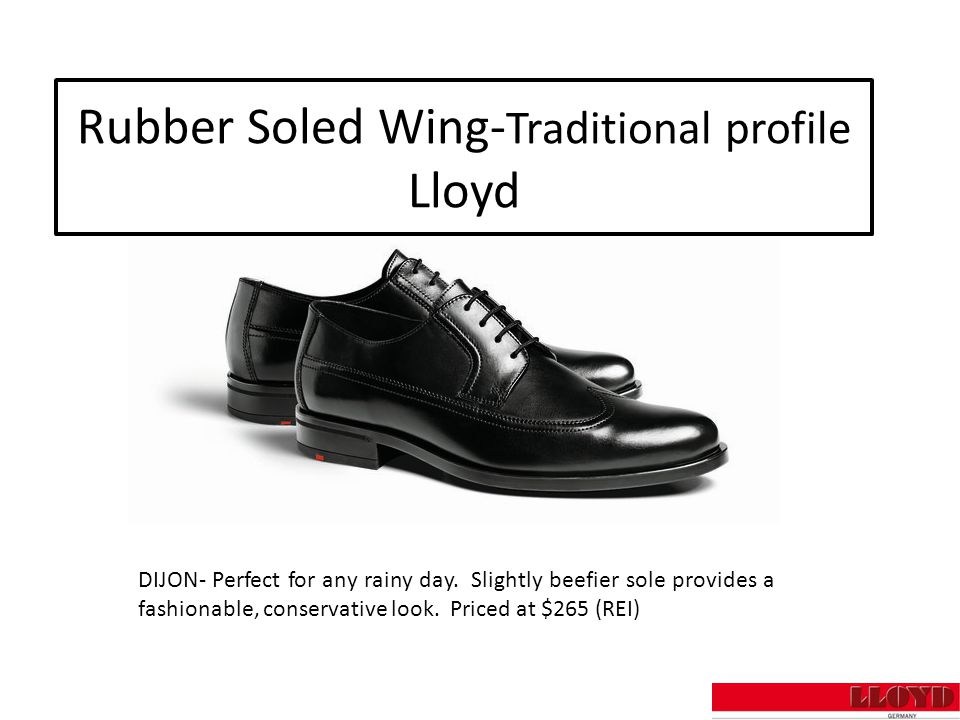 Rubber Soled Wing- Traditional profile Lloyd DIJON- Perfect for any rainy day.